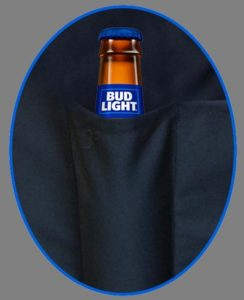 Closeup of beer bottle snug in the narrower pocket