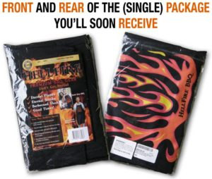 Apron and insert shown front and rear in plastic bag wrap--text says this is package you will soon receive