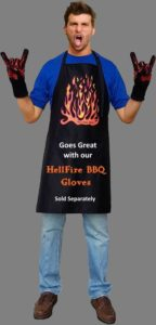 man wearing apron and gloves posing with devils horns rock fingers